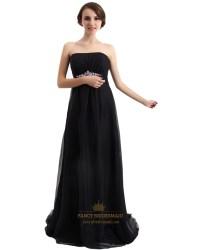 Black Strapless Chiffon Empire Bridesmaid Dress Long With ...