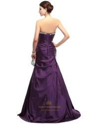 Purple Mermaid Sweetheart Taffeta Prom Dresses With Beaded
