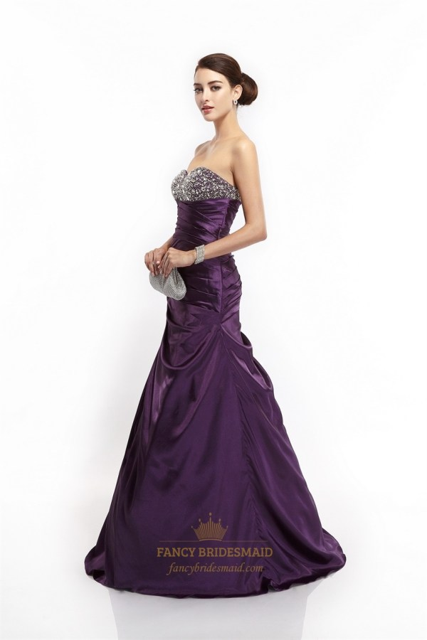 Purple Mermaid Sweetheart Taffeta Prom Dresses With Beaded