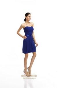 Royal Blue Strapless Chiffon Short Bridesmaid Dresses With ...