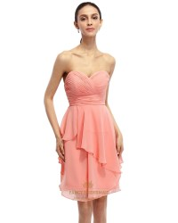Coral A-Line Strapless Chiffon Short Bridesmaid Dress With ...