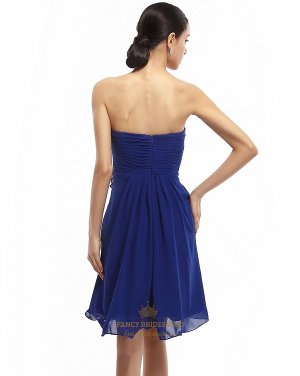 Royal Blue Chiffon Strapless Bridesmaid Dress With Floral Embellishment Fancy Dresses