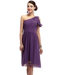 Purple One Shoulder Chiffon Knee Length Ruched Bridesmaid ...