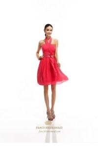 Coral Short Chiffon Halter Bridesmaid Dress With Front ...
