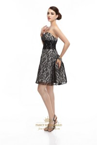 Little Black Lace Short Strapless Cocktail Dress With ...
