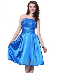 Blue Strapless Satin Knee Length Bridesmaid Dresses With ...
