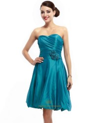 teal bridesmaid dresses teal strapless taffeta ruched ...