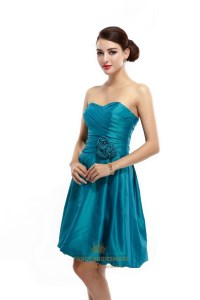 Teal Strapless Taffeta Ruched Short Bridesmaid Dress With ...