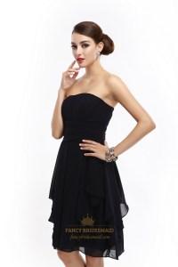 Short Black Strapless Chiffon Bridesmaid Dresses With ...
