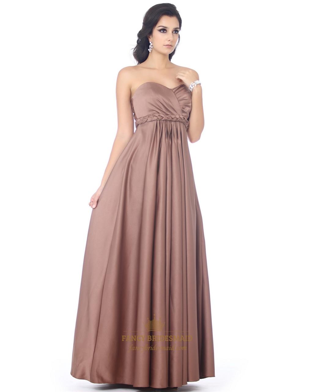 Chocolate Brown Satin Sweetheart Bridesmaid Dress With