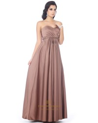 Chocolate Brown Satin Sweetheart Bridesmaid Dress With ...
