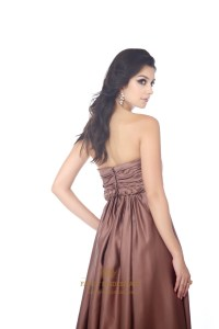 Chocolate Brown Satin Sweetheart Bridesmaid Dress With