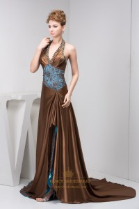 Brown And Blue Beaded Halter Neck Prom Dress With ...