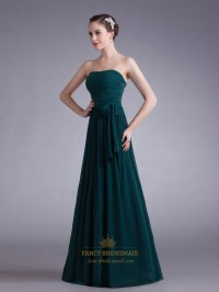 Teal Strapless Chiffon Ruched Bodice Bridesmaid Dresses ...