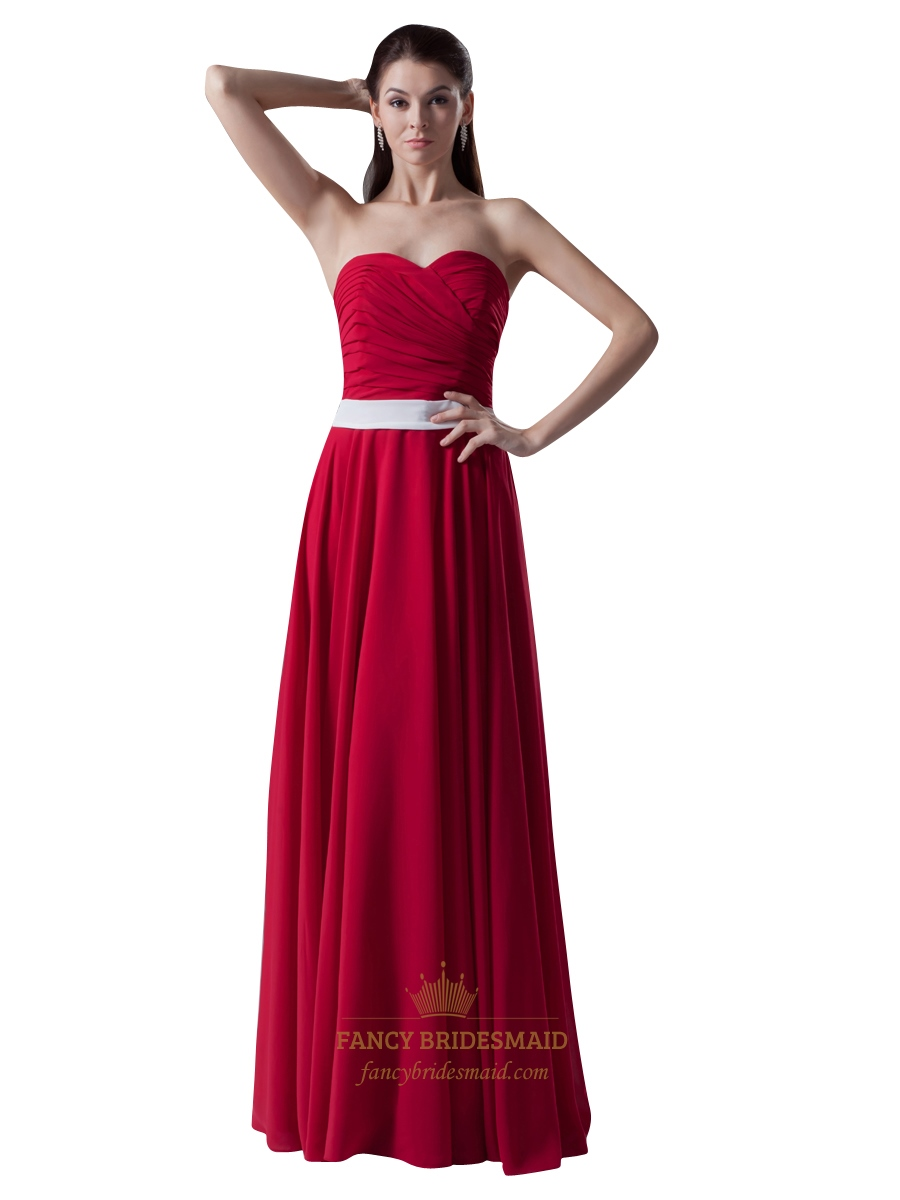 Red Strapless Sweetheart Neckline Bridesmaid Dress With