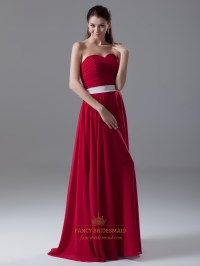 Red Strapless Sweetheart Neckline Bridesmaid Dress With ...