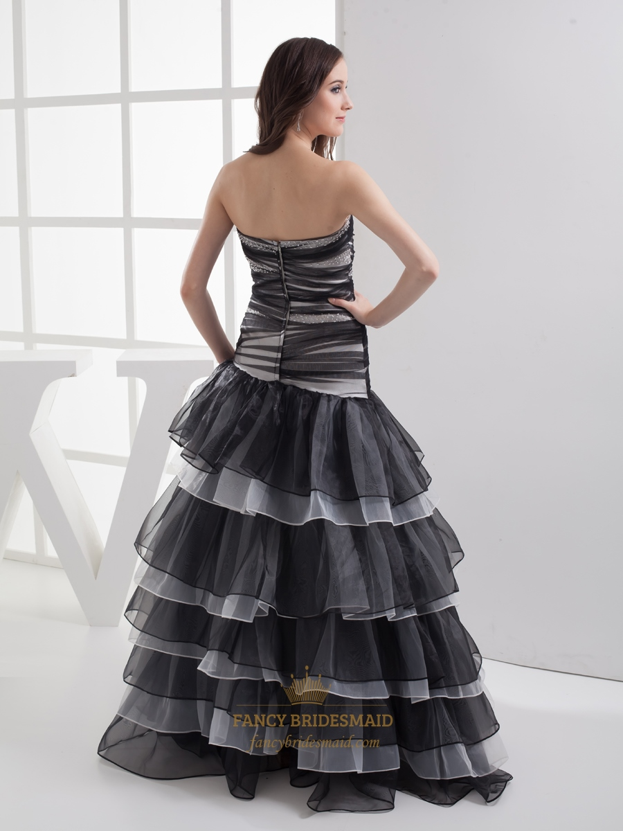 White And Black Mermaid Beaded Organza Prom Dress With