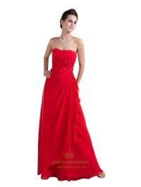 Red Strapless Side Gathered Beaded Prom Chiffon Dress With ...