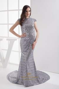 Silver Sequin High Neck Sweep Train Mermaid Prom Dress ...