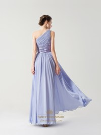 Lavender One Shoulder Chiffon Beaded Neck Bridesmaid