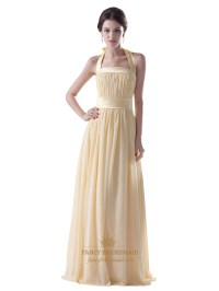 Pale Yellow Halter Neck Chiffon Long Bridesmaid Dress With ...