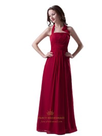 Red Chiffon Halter Floor Length Bridesmaid Dress With