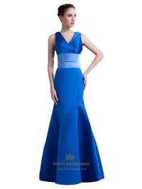 Royal Blue V Neck Sleeveless Satin Fit And Flare Prom ...