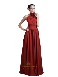 Burgundy Chiffon Halter Neck Long Bridesmaid Dress With ...