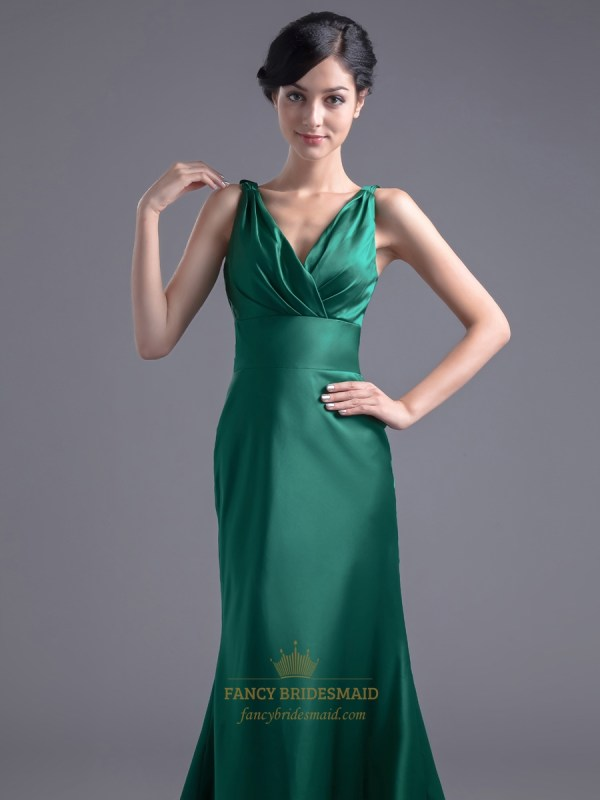 Vintage Emerald Green Mermaid -neck Prom Dress With