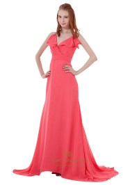 Watermelon Chiffon Spaghetti Strap V Neck Bridesmaid Dress ...
