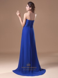 Royal Blue Strapless Flowy Chiffon Bridesmaid Dresses With ...