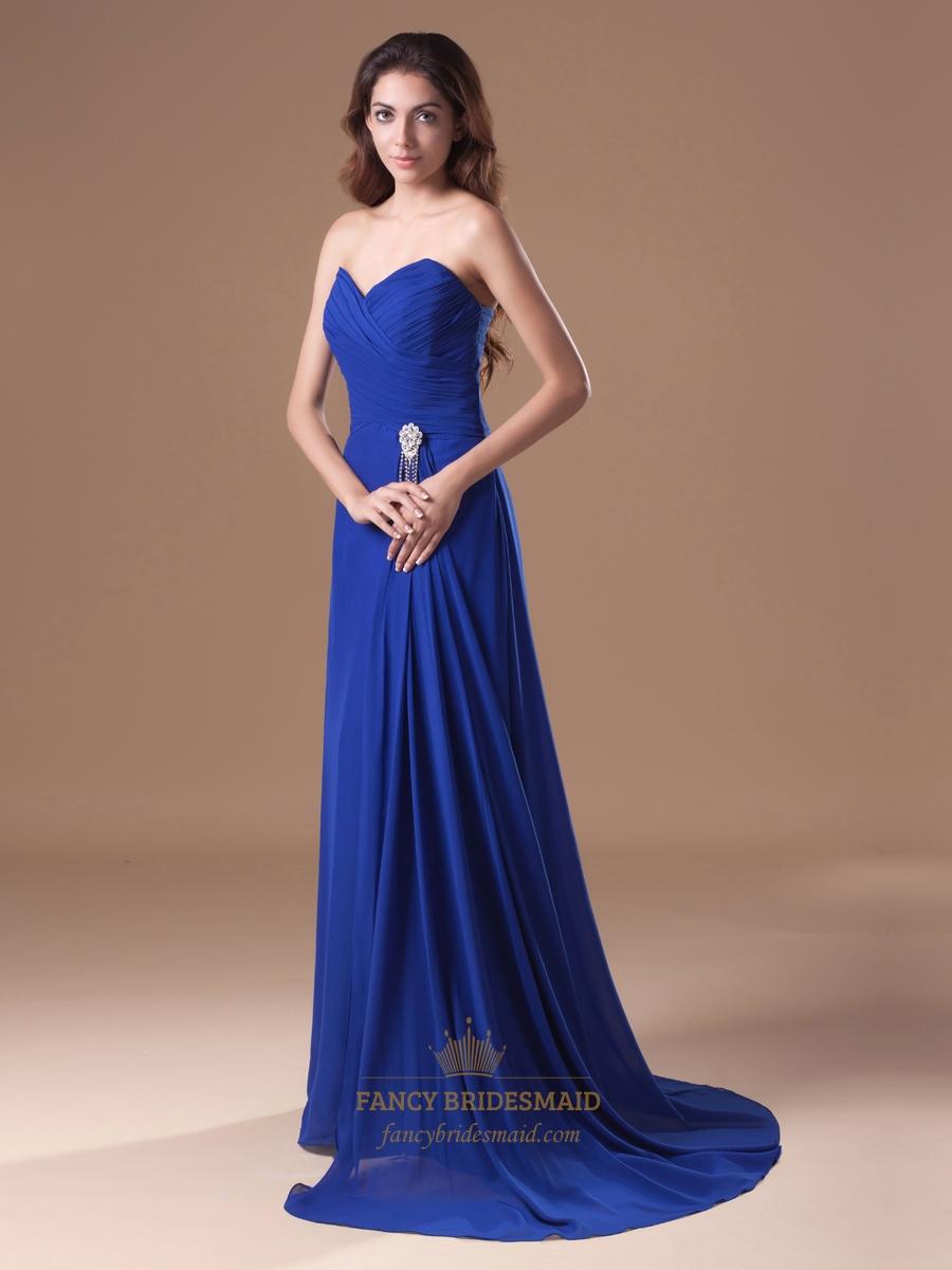 Royal Blue Strapless Flowy Chiffon Bridesmaid Dresses With