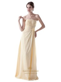 Pale Yellow Strapless Empire Chiffon Long Bridesmaid Dress ...