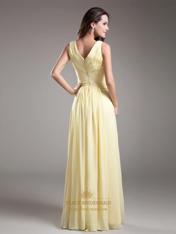 Elegant Light Yellow Neck Sleevless Ruched Chiffon