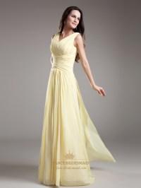 Elegant Light Yellow V Neck Sleevless Ruched Chiffon ...