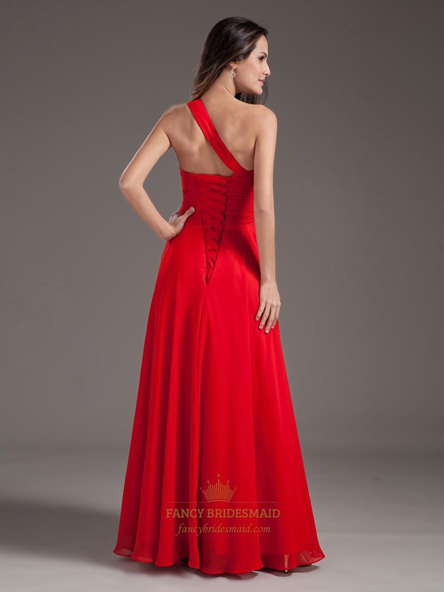 Flowy Red One Shoulder Sweetheart Neckline Prom Dresses