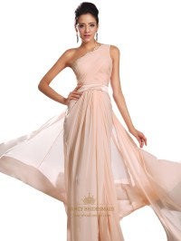 Flowy Peach One Shoulder Floor Length Prom Dress With Lace ...