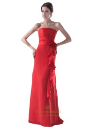 Red Strapless Chiffon Flower Long Bridesmaid Dress With