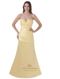 Yellow Beaded Sweetheart Neckline Strapless Sheath Prom ...