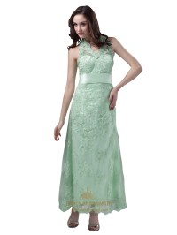 Mint Green Halter Lace Ankle Length Bridesmaid Dress With ...