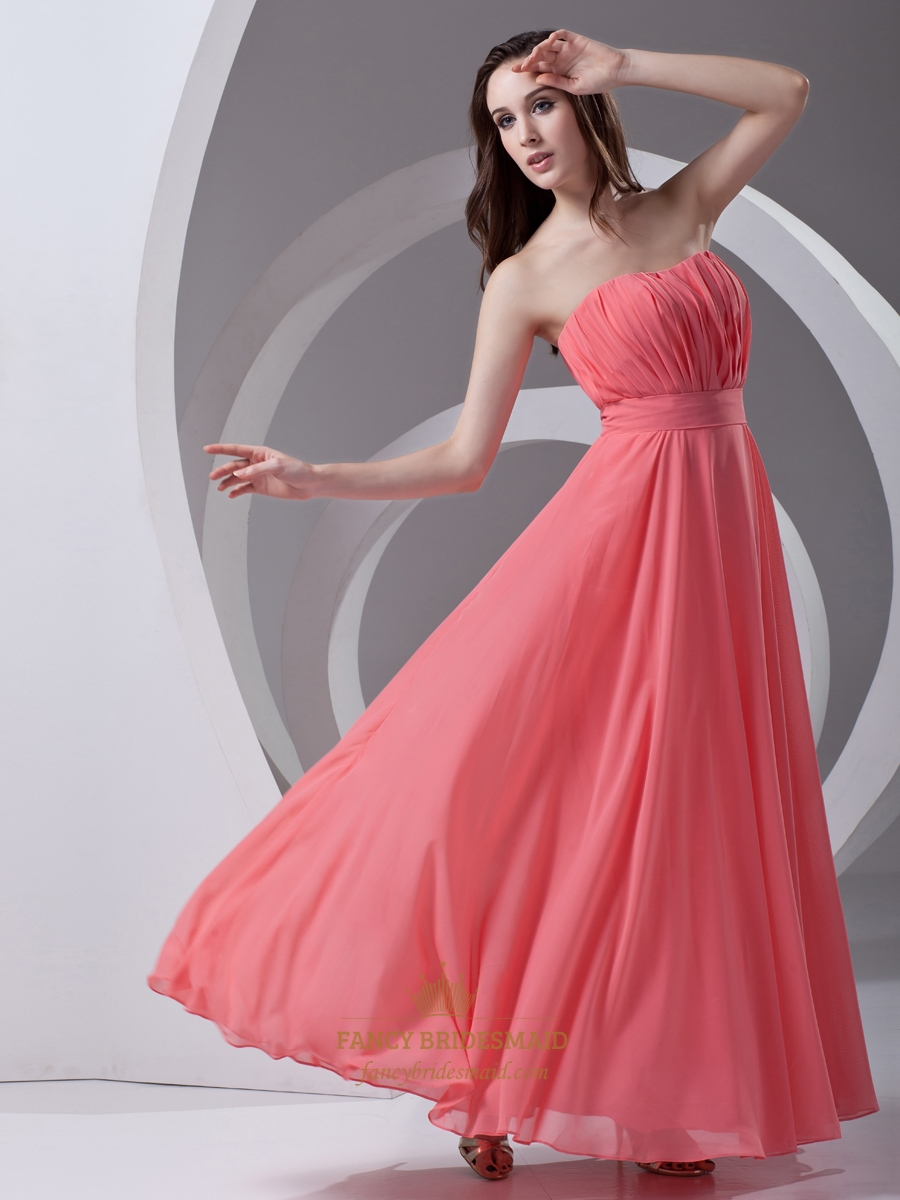 Coral Strapless Chiffon Floor Length Bridesmaid Dresses