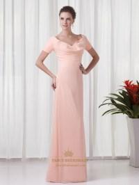 Peach Chiffon Sheath V Neck Bridesmaid Dresses With Short ...