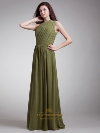 Olive Green Chiffon One Shoulder Bridesmaid Dresses With ...