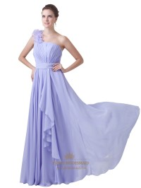 Lavender One Shoulder Flower Strap Bridesmaid Dresses With