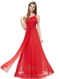 Red Flowy One Shoulder Chiffon Bridesmaid Dresses With ...