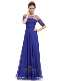 Royal Blue Summer Lace Bodice Bridesmaid Dresses With Half ...