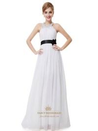 White Halter Neck Beaded Chiffon Bridesmaid Dress With ...