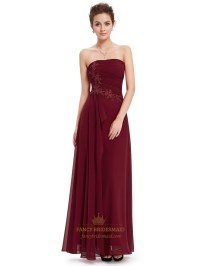 Burgundy Chiffon Strapless Bridesmaid Dresses With ...