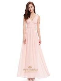 Elegant Light Pink V Neck Chiffon Bridesmaid Dress With ...