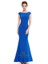 Royal Blue Scoop Neck Mermaid Cap Sleeve Prom Dress With ...